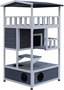 PawHut Solid Wood 4-Floor Cat Condo 4-Floor Villa with Litter Box Space