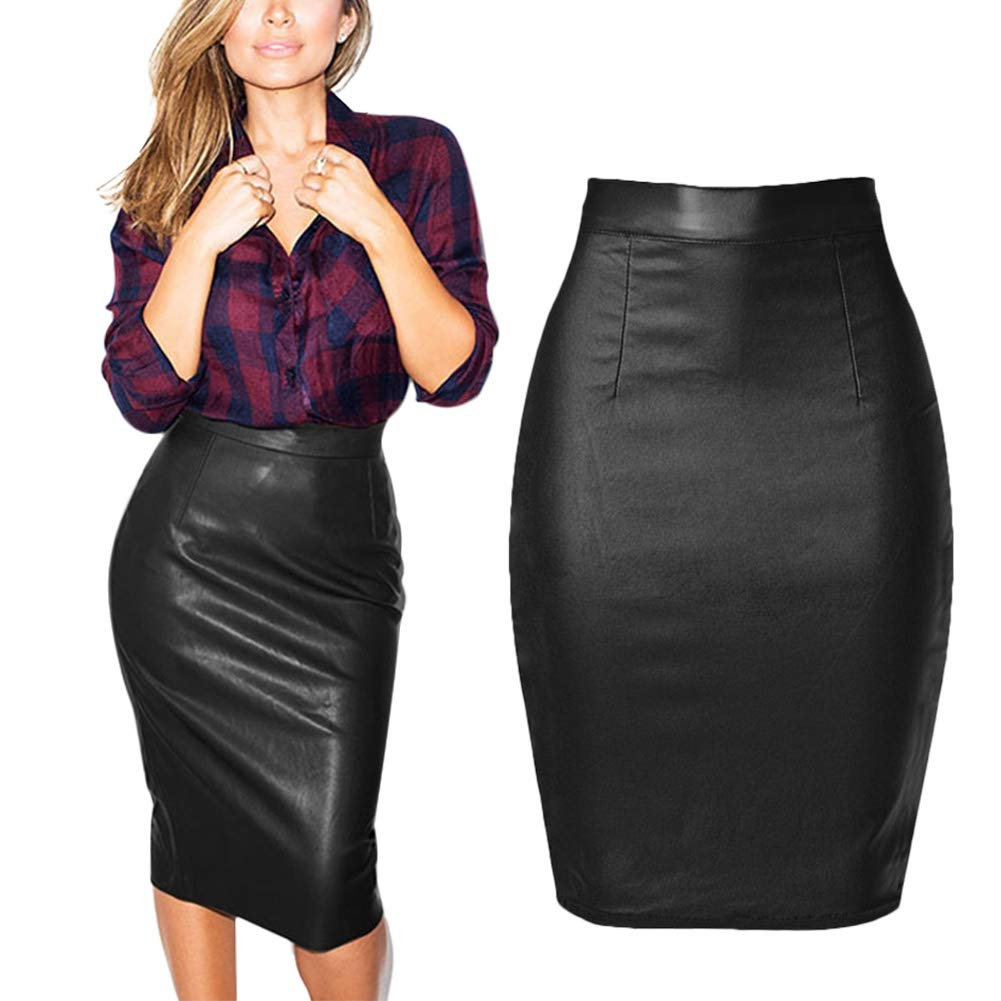 04941f9f7858e lexiart Womens Denim Faux Leather Skirt Slim Fit High Waist Stretch ...