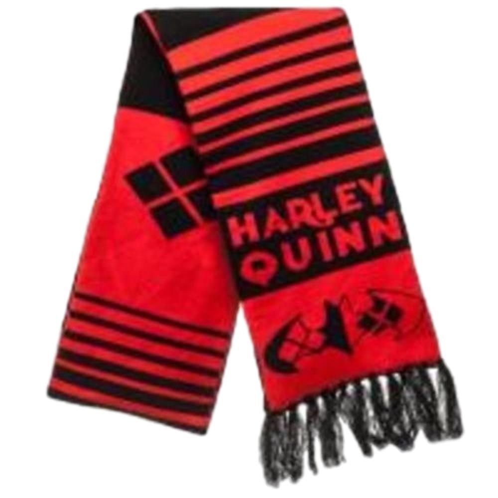 DC Comics Harley Quinn Logo W/Name Jacquard Knit Scarf