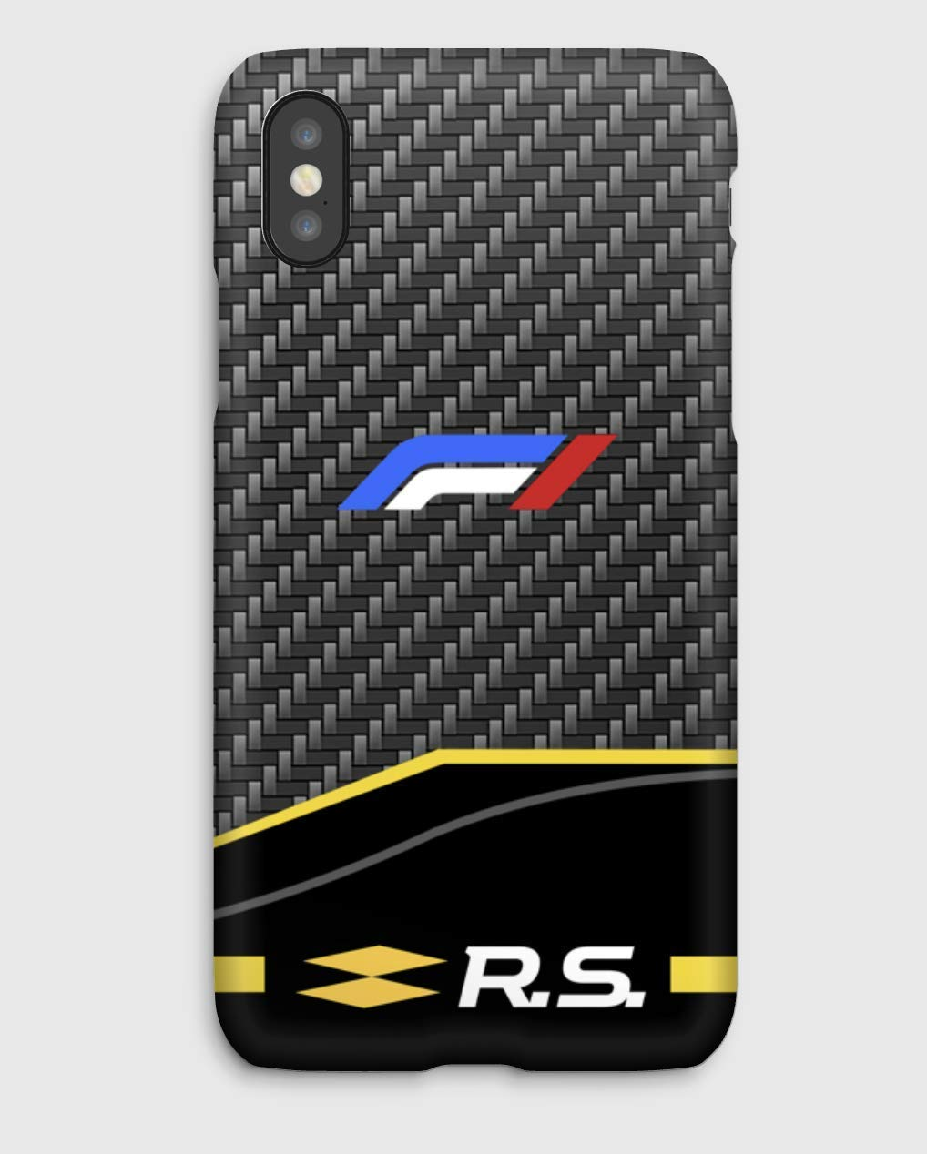 F1 carbon Renault Funda para el iPhone XS, XS Max, XR, X, 8, 8+, 7, 7+, 6S, 6, 6S+, 6+, 5C, 5, 5S, 5SE, 4S, 4,