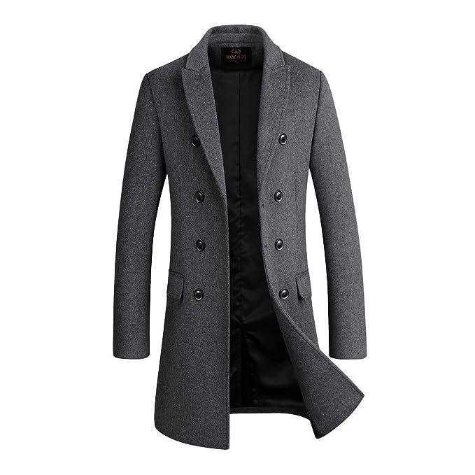 41c72aa1 HXW.GJQ Men's Premium Wool Blend Double Breasted Long Pea Coat (Grey ...