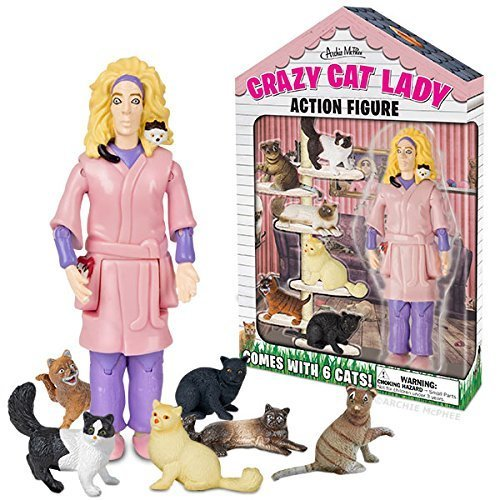 Crazy Cat Lady Action Figure Set & 4 Cat Stickers - Best in Cat Lover Gifts - It's the Cats Meow! by Unicornucopia