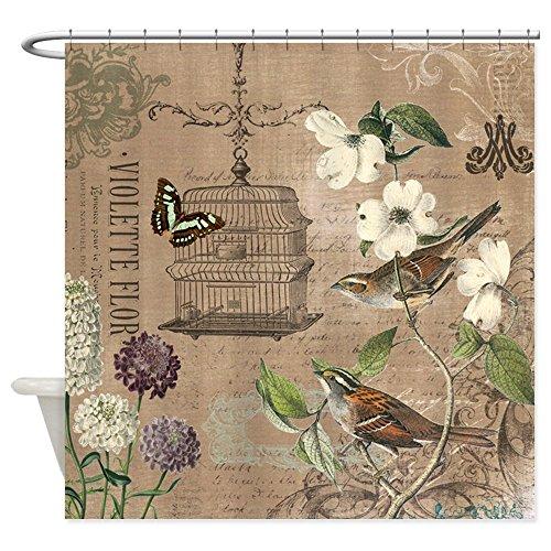 CafePress Modern Vintage French Birds and Birdcage Shower Cu Decorative Fabric Shower Curtain (69