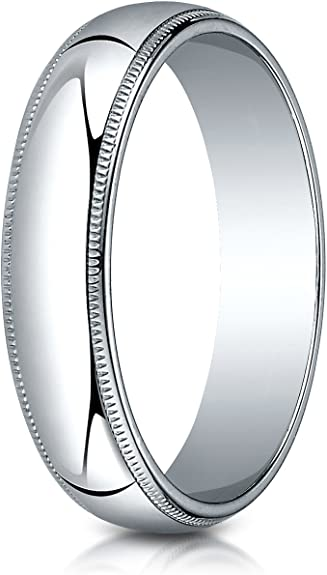 Mens 14K White Gold 5mm Traditional Dome Oval Wedding Band Ring