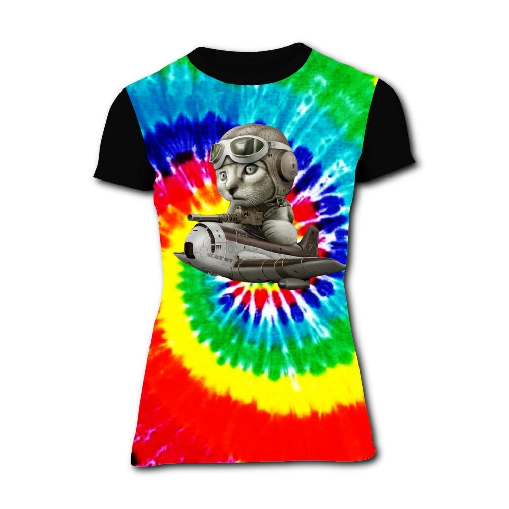 Womens Cat Pilot Summer Casual Short Sleeve Tee Creative 3D Printed Graphic Hipster Design T Shirt