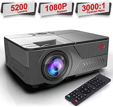 Pansonite Portable Projectors with 5200 Lux and 30,000 Hour Lamp Life,Video Projector Full HD 1080P and Max.200 Display Supported, Compatible with ...