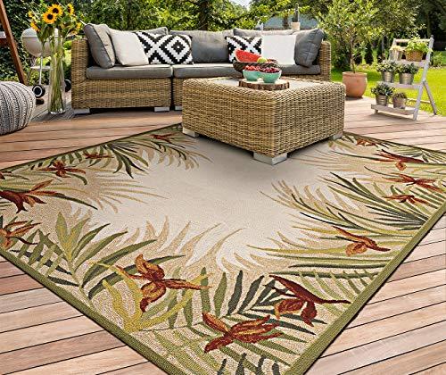 - Couristan 2129/1021 Covington Tropic Garden/Sand Multi 8-Feet by 11-Feet Rug