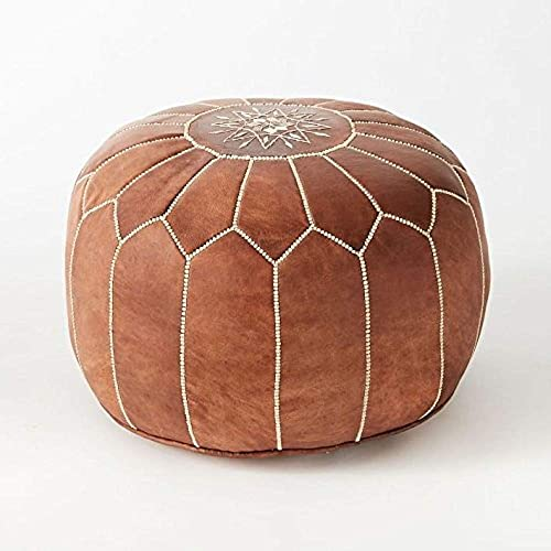 proudcrafts Moroccan Handmade Pouf Real Leather tan unstuffed