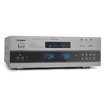 Auna AMP5100 5.1 - Sistema Home cinema (HiFi Surround, amplificador AV, 1200 W, UKW, modos 5.1/3.1/2.1), plateado: Amazon.es: Electrónica