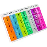 AIDAPT Colourful Weekday Medication Organiser/Reminder.Ideal for users with lots of pills to take,Ideal for Partially Sighted (Eligible for VAT relief in the UK)