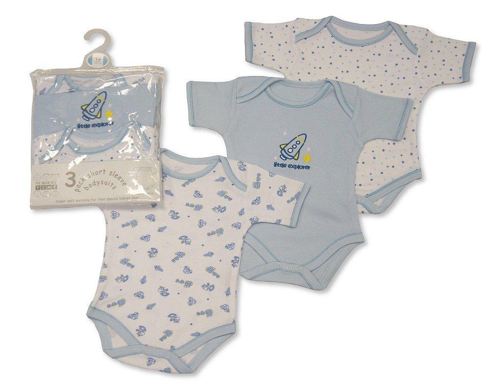 Baby Boys 3 Pack Short Sleeved Cotton Bodysuit Body Vest Sizes NB-24 months 12-18