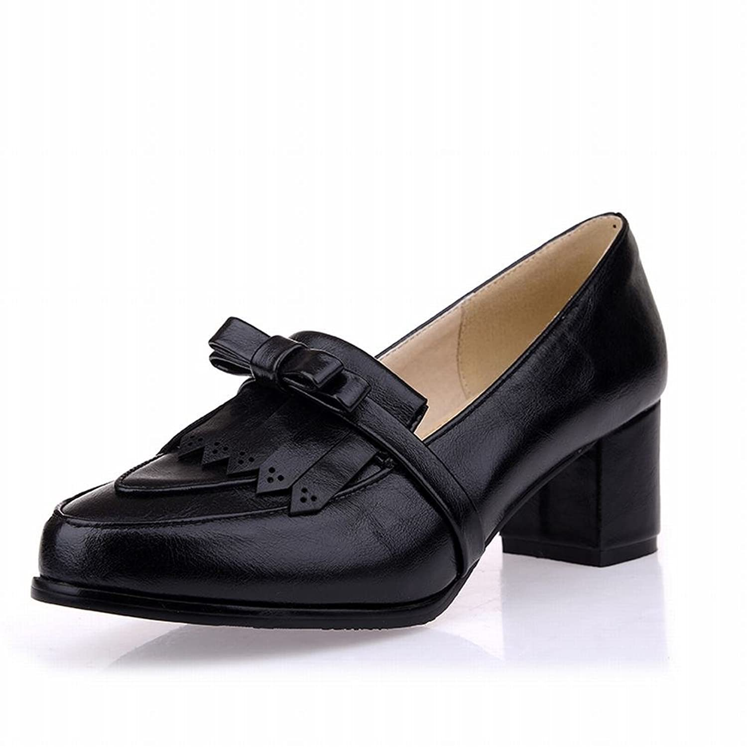 Latasa Women's Cute Chic Tassel & Bow Pointed-toe Mid Chunky Heels Slip on Tassel Loafers Shoes