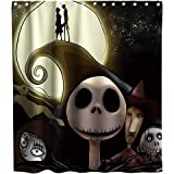 Nightmare Before Christmas Shower Curtain Halloween Skull Theme Fabric Kids Bathroom Set Decor Sets with Hooks…