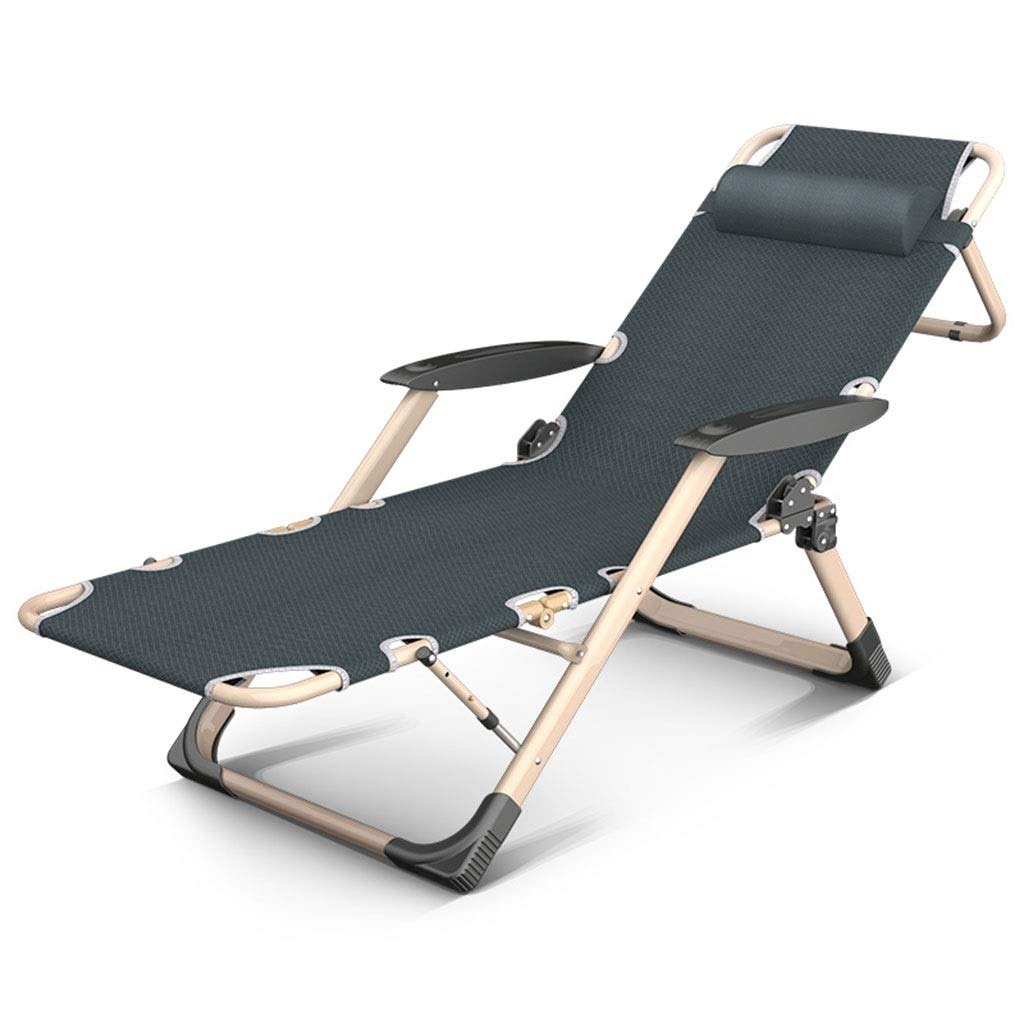 XITER Chair Folding Reclining Sun Lounger Beach Garden Camping Bed Chair Accompanying Bed Adjustable Sun Bed in Oxford Cloth (Color : Gray Chair+Cushion)