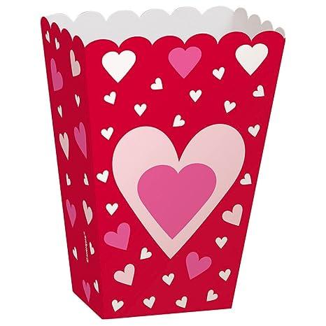 Corazones San Valentín palomitas cajas de Treat, pack de 6
