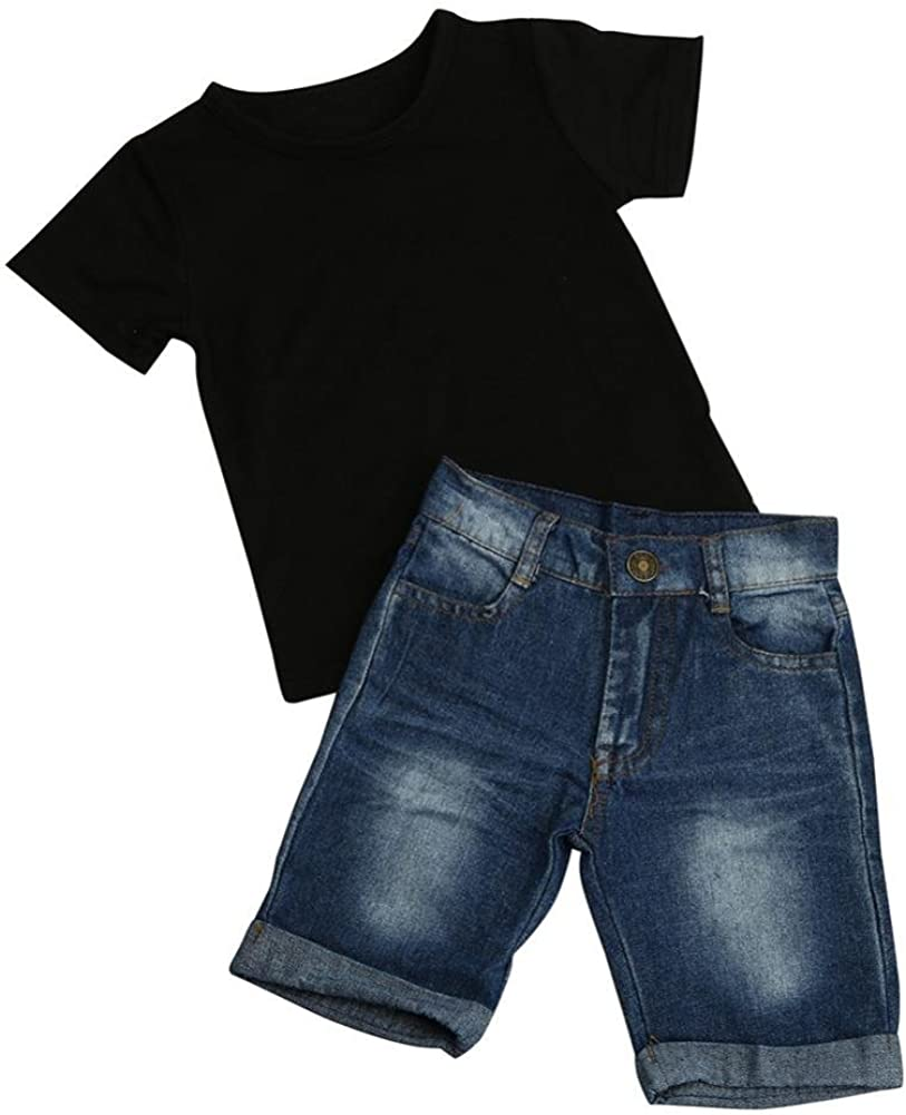 Sunbibe 2-6 Years Old 1Set Toddler Outfit Baby Clothes Boys Cute T-Shirt Tops+Denim Shorts Pants
