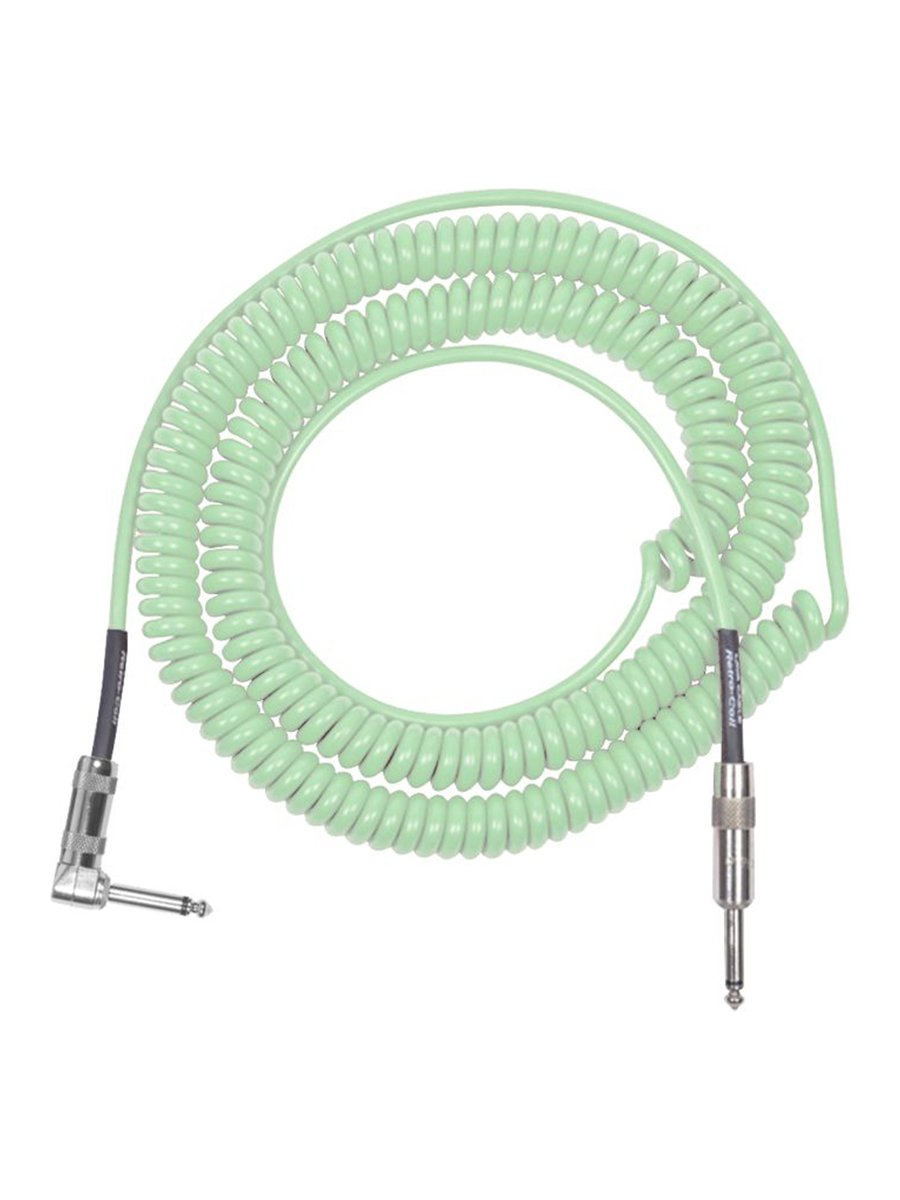 Lava Retro Coil 20 Foot Instrument Cable, Straight to Right Angle - Surf Green