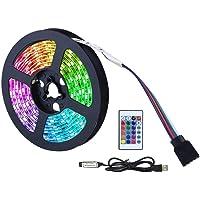 LED Strip Light, 5050 RGB Waterdichte Decoratieve Lichtstrip met Afstandsbediening, USB Led Neon Strip met 16 kleuren en…