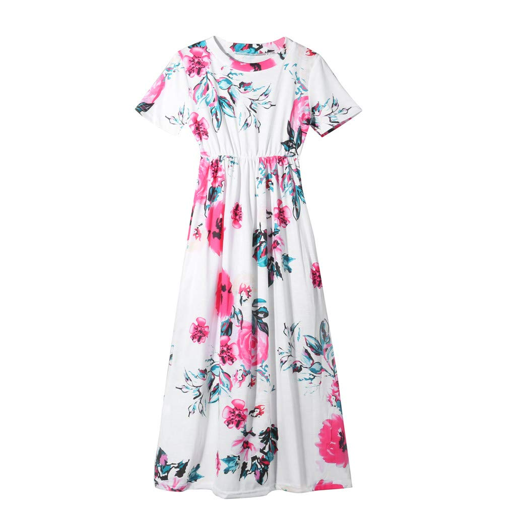 2-10Y Kids Girl's Floral Print Dress, Children Summer Spring Casual Long Maxi Dress Short Sleeve Dresses with Pocket (White, 2T/24M (1-2 Years))