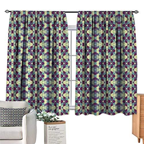 (RuppertTextile Customized Curtains Retro,Graphic Diamond Shapes Stripes Old Fashioned Geometric Symmetric Tile,Cream Pale Blue Indigo Suitable for Bedroom Living Room Study, etc.55 Wx63 L)