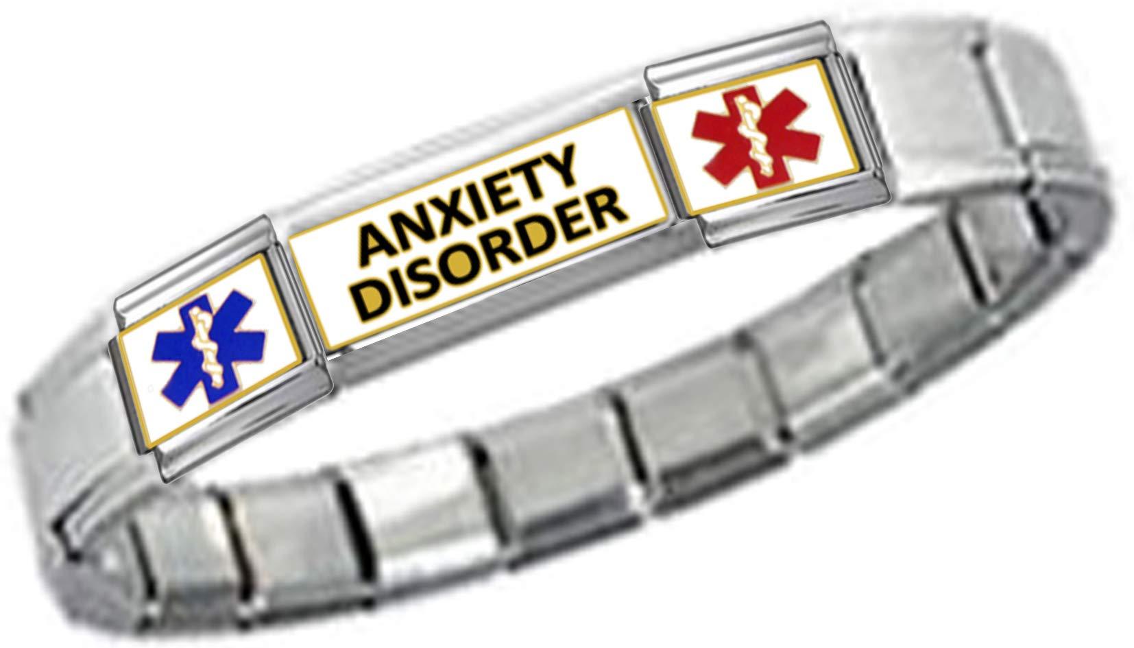 Stylysh Charms Anxiety ID 9mm Link Silver Tone Shiny Bracelet