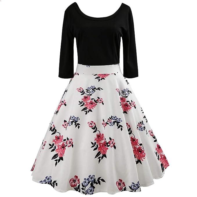 Jitong Rockabilly Donna Anni 50 Abito Vintage Elegante Manica 3 4 Vestito a  Pieghe Swing 0dd68a27886