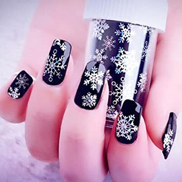 Amazon 1 Roll 4100cm Holographic Snowflake Nail Foils White