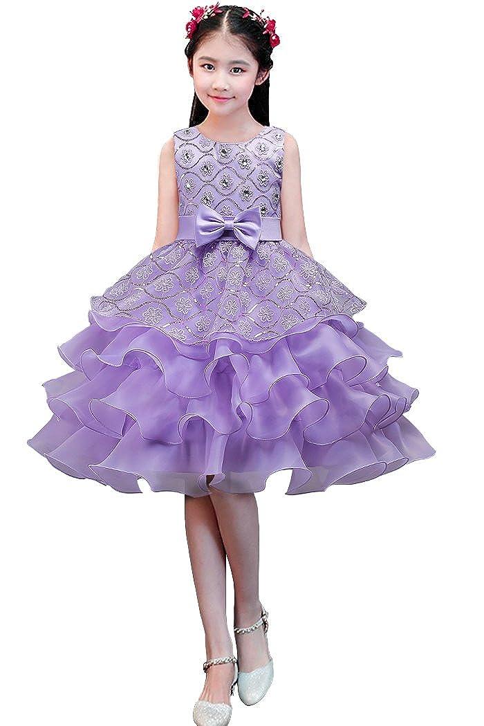 dressfan Girl Dress Kids Long Party Wedding Princess Dress Tulle Lace KD002