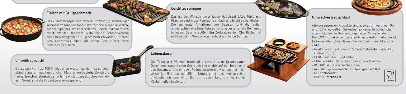 24 cm rund LAVA Cookware Folk Gusseisen emailliert Kasserolle//Br/äter lila