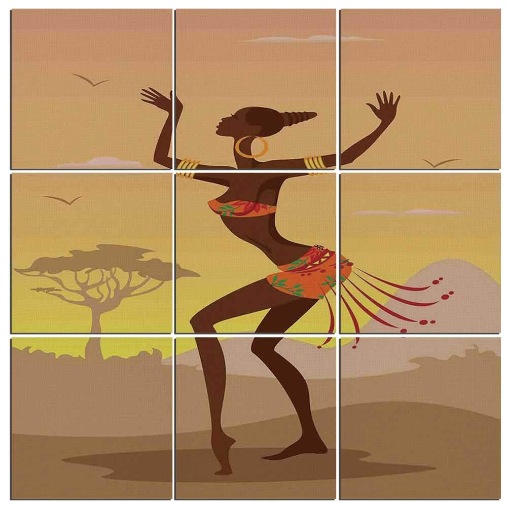 Amazon.com: Afro Decor Canvas Wall Art, 9 Pieces, Ethnic Woman with ...