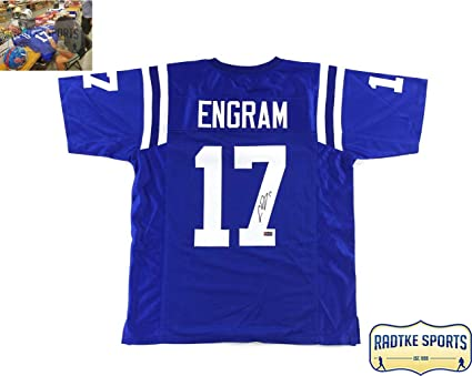 promo code e8c01 4bd40 Evan Engram Autographed/Signed Ole Miss Blue Custom Jersey ...