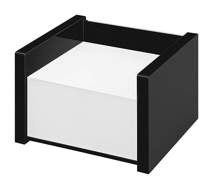 inklusive 50 Blatt Haftnotizen Wedo 631801 Zettelbox Black Office aus Acrylglas im Geschenkkarton Schwarz 6 x 2 cm Gummif/ü/ße 9