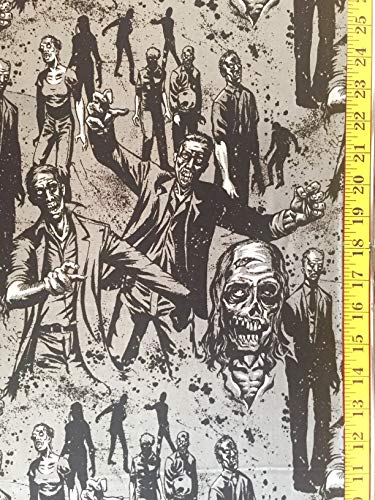 Zombie Charcoal Alexander Henry Fabric - by The Yard - Halloween -