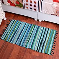 yazi Hand loomed Rag Rug Collection Handwoven Natural Fiber Cotton Area Rug 20-Inches by 31.5-Inches, Green Color
