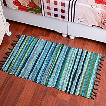yazi hand loomed rag rug collection handwoven natural fiber cotton area rug 20inches by