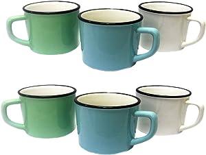 "Set of 6 Retro ""Enamelware"" Style Porcelain Coffee Mugs - Mint, Aqua & White - 12 oz"
