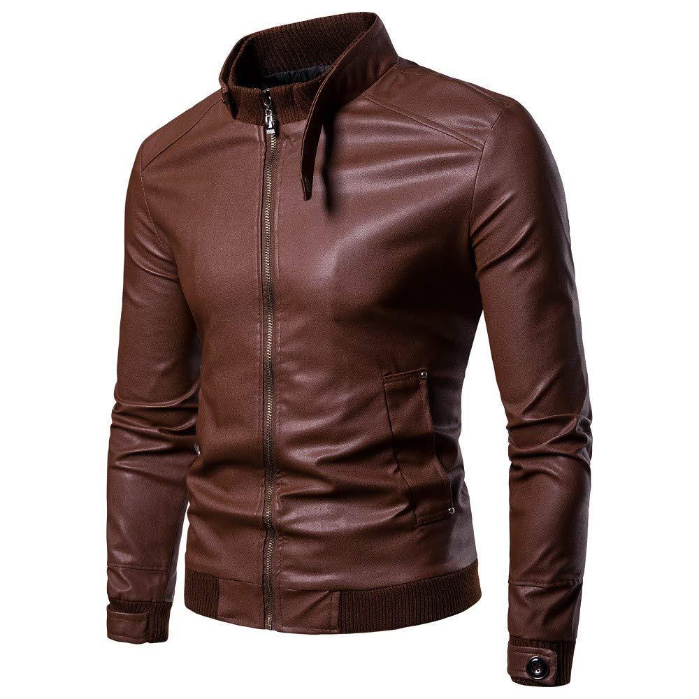 WUYIMC Men's Leisure Windbreaker Motor Jacket Zipper Thermal Leather Warm Jackets Coats Top by WUYIMC (Image #2)