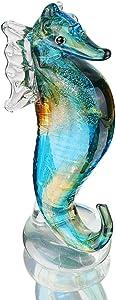 QF Handmade Glass Blue Seahorse Collectible Art Glass Blown Animal Figurine