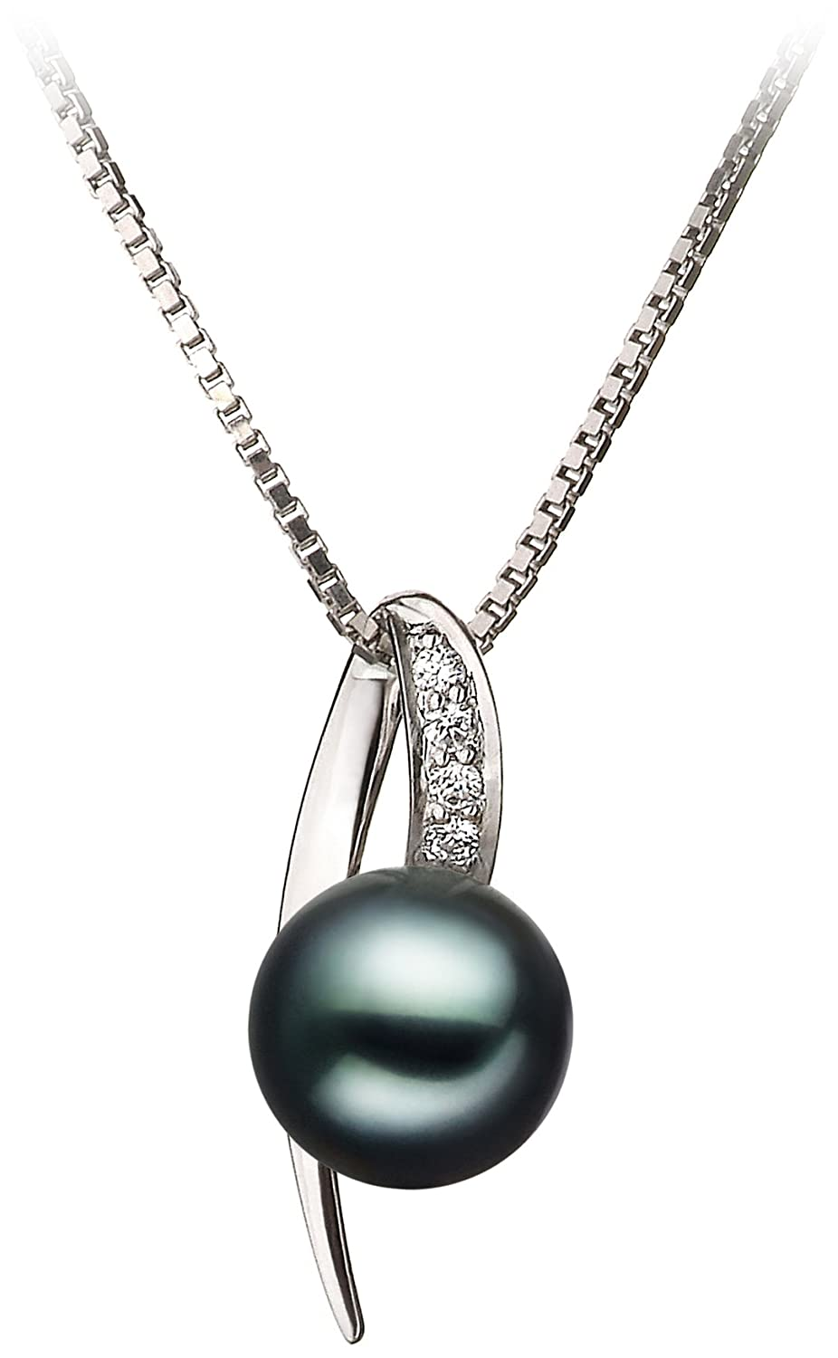 Destina Black 7-8mm AA Quality Japanese Akoya 925 Sterling Silver Cultured Pearl Pendant PearlsOnly CA-AMZ-JAK-B-AA-78-P-Destina