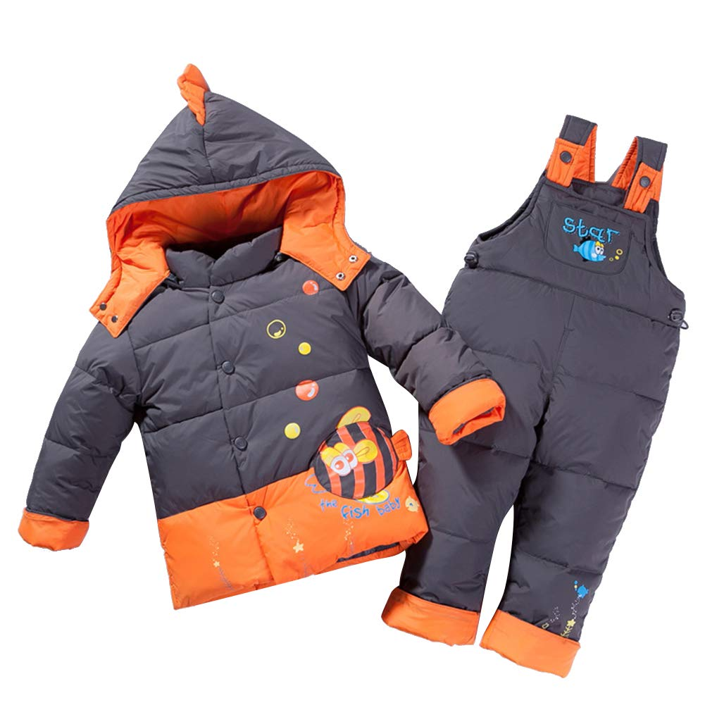 YFCH Unisex Baby Winter Snowsuit, Infant Girls Boys Two Piece Warm Hooded Puffer Down Jacket and Snow Bib Pants Outfits