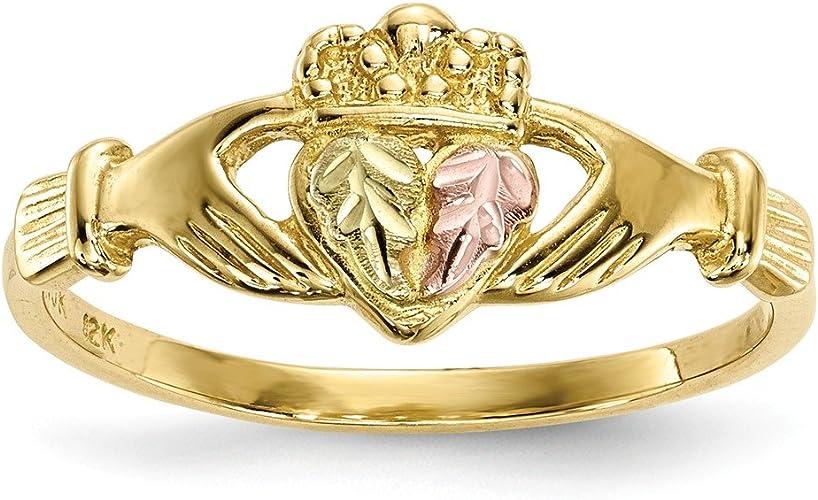 Jewelry Adviser Black Hills Rings 10k Tri-Color Black Hills Gold Claddagh Ring