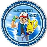 POKEMON PIKACHU Edible Birthday Cake OR Cupcake Topper - 10' round inches