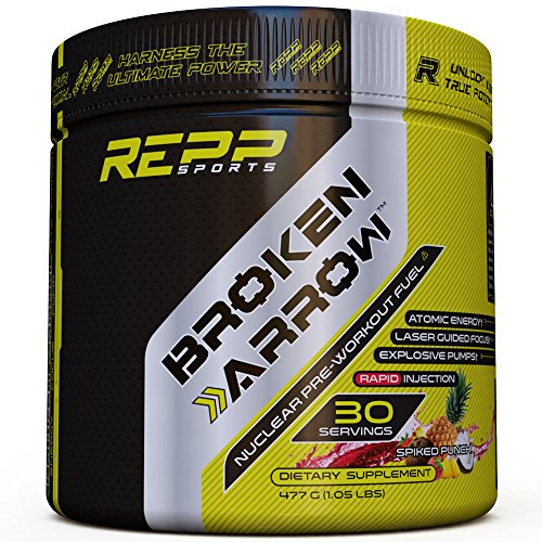 Arrows Spiked (Repp Sports Broken Arrow Pre-Workout, Spiked Punch, 30 Servings, Intense Pre-Workout Powder for Increased Power, Energy, Focus and Endurance (Spiked Punch))