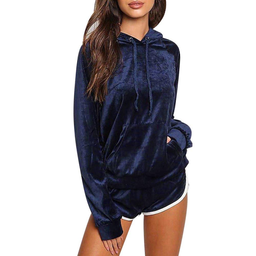Women Sports Outfits, Realdo Velvet Long Sleeve Hoodies + Shorts 2 Piece Set