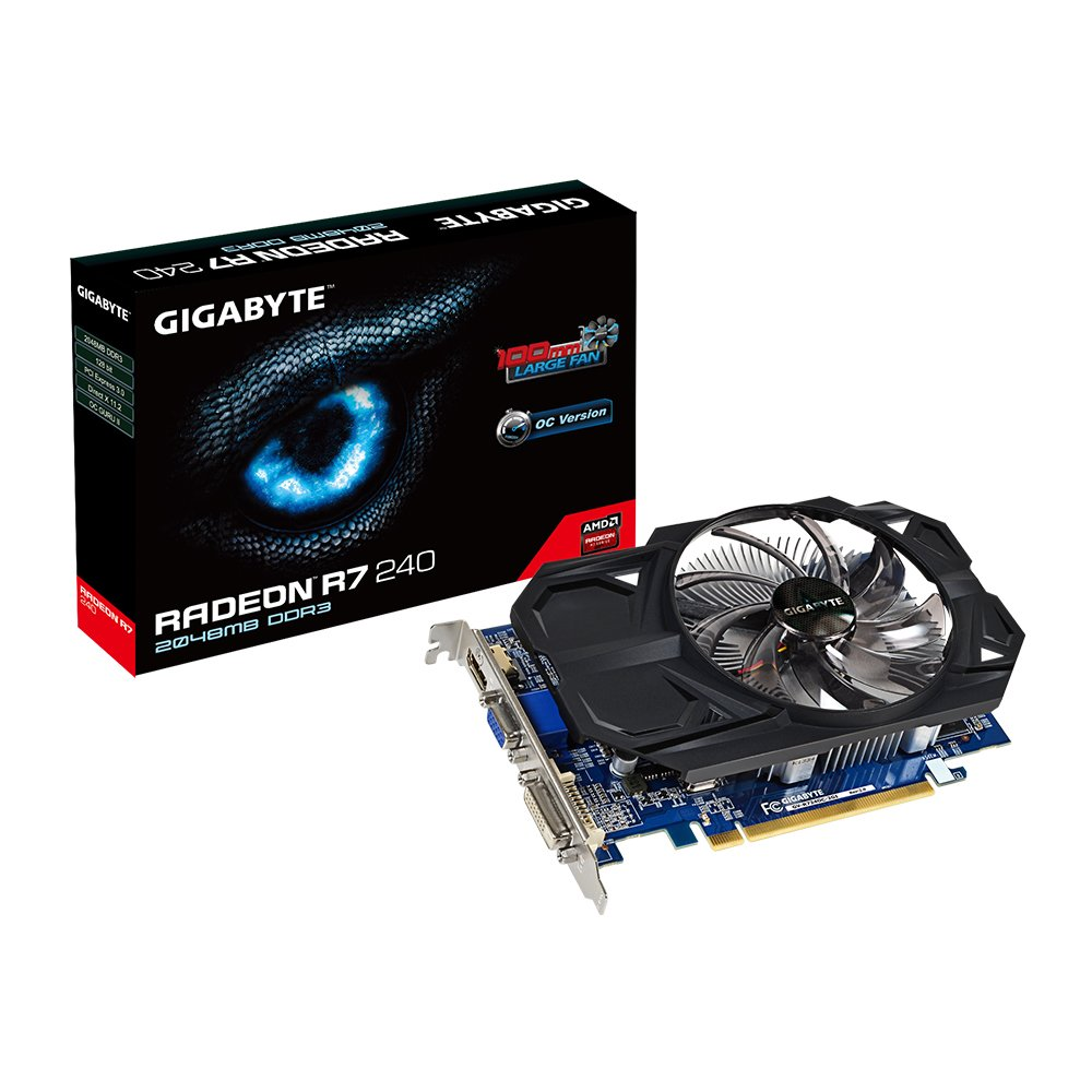 Gigabyte AMD Radeon R7 240 GDDR3-2GB DVI-D/HDMI/D-SUB OC Video Graphics Cards GV-R724OC-2GI REV2.0 by Gigabyte