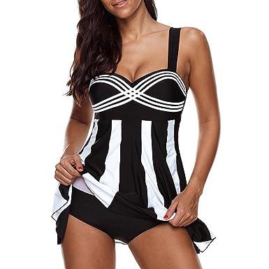 OverDose Damen 2PCS Streifen Drucken Sommer Übergröße Bikinis Tankini Swim  Kleid Badeanzug Beachwear gepolsterte Bademode Frauen 73973935d0