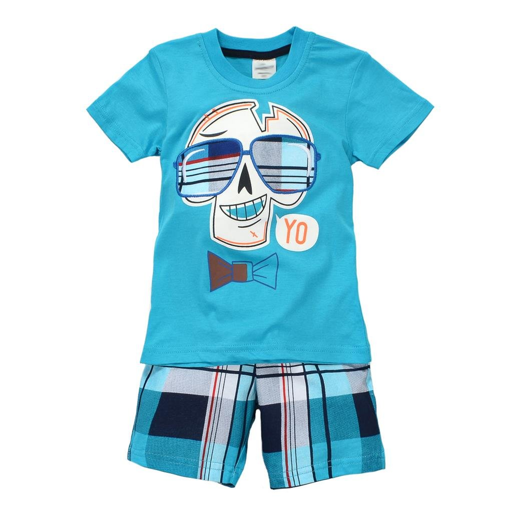Coralup Little Boys Cotton Short Sleeve Set 2Pcs Blue,4T