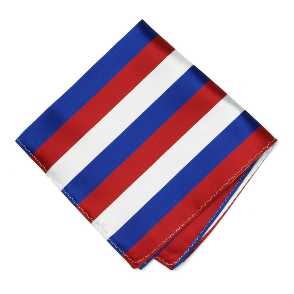 TieMart Red, White and Blue Striped Pocket Square