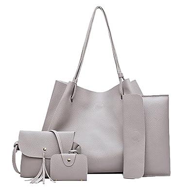 FiveloveTwo borse in pelle borsa sacchetti donne borse a tracolla spalla mano sacchetto zainetto tote grigio