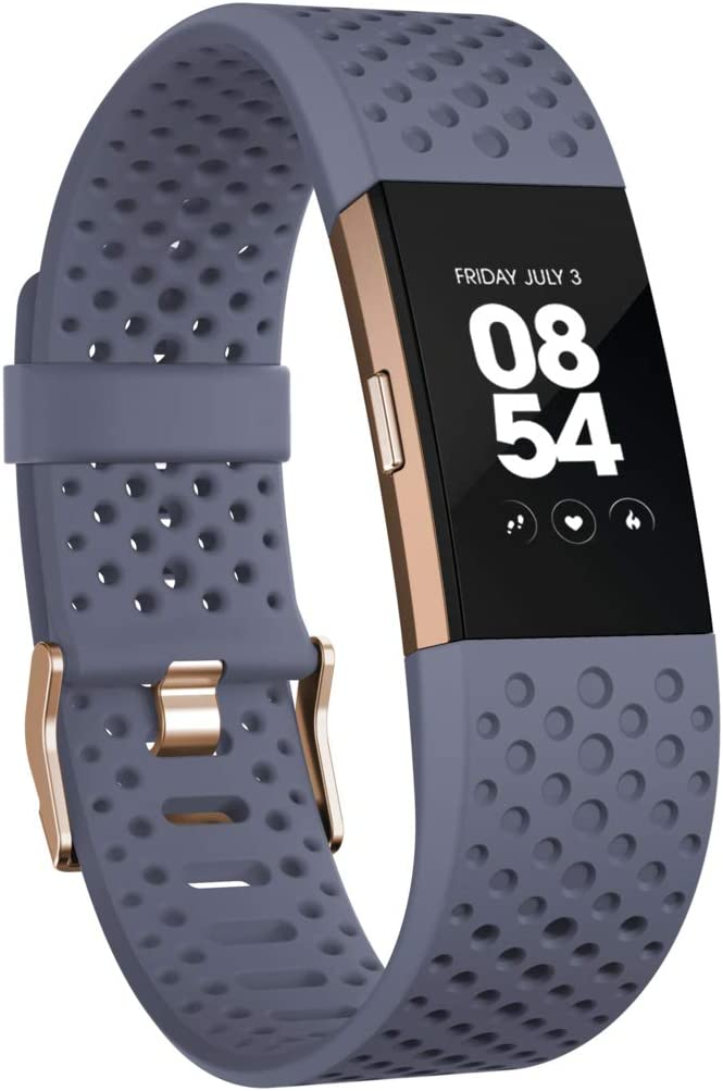 Fitbit Charge 2 Heart Rate Fitness Wristband Special Edition Blue Rose Gold Small
